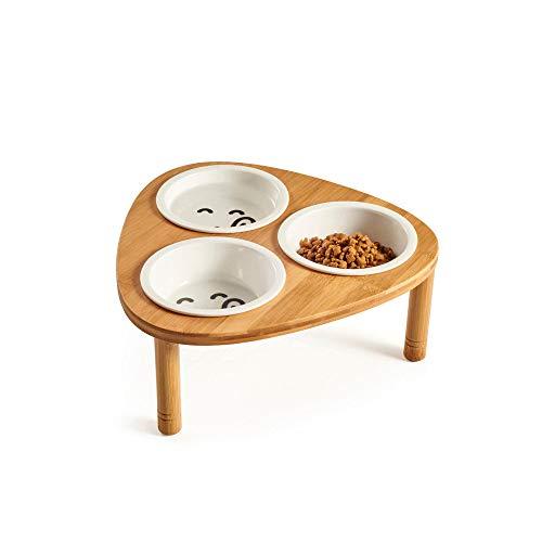 DjfLight Die Neue Fressnapf, Dreieck Bambus Holz Edelstahl Produktion Lebensmittel Und Trinkschalen Kombination Mit Bambusrahmen FüR Hunde Und Katzen, Triple Bowls,S - Edelstahl-lebensmittel-fach
