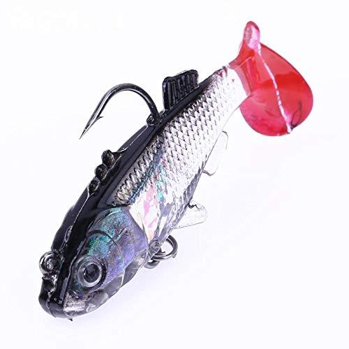 DIPU WULIAN 1 pc 55mm/8g Simulation Lead Fishing Lure Lifelike Soft Bait Artificial Fishing Lure with Treble Hook and Single Hook Carp Fish