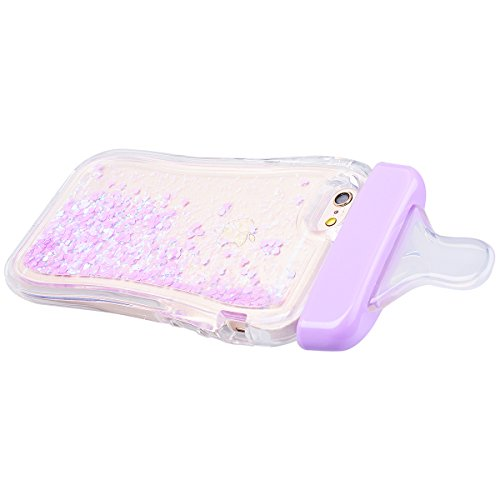 WE LOVE CASE iPhone 6 / 6S Coque, Étui Transparente de Protection en Premium Silicone Housse Souple Mince et Clair, Bumper Gel Bling Cas Briller Couverture Paillette Motif Diamante Brilliant Bébé Bout violet