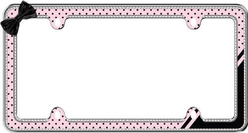 Cruiser Zubehör 18536/Pink/Schwarz 'Retro Polka Dot' Bling Chrom Nummernschild Rahmen - Bling Dots