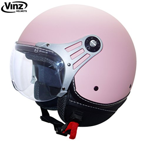 Foto de Vinz - Moderno casco tipo jet para motocicleta en rosa, tallas XS-XL | casco con visera | certificado ECE