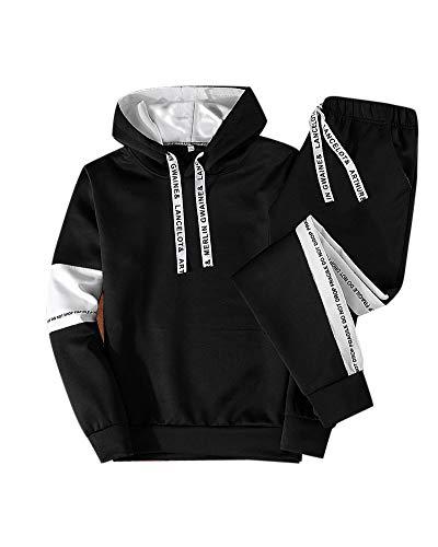 Uomo moda felpa con cappuccio manica lunga hooded hoodies sweatshirts pullover tops pantaloni 2 pezzi tute nero l