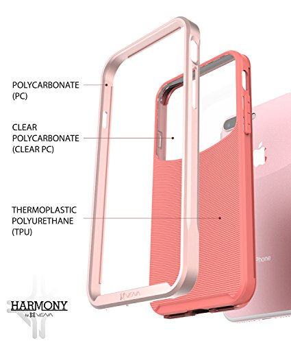 "iPhone 7Fall, VENA [Harmony] Wave Textur [Hybrid transparent Rückseite Panel] [cornerguard Drop Proof] Slim Fit Hülle für Apple iPhone 7(11,9cm "") Rose Gold/Coral Pink"