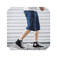 Cargo Shorts Men Cool Summer Cotton Casual Men Short Pants Comfortable Men Cargo Shorts,Sapphire Blue,29