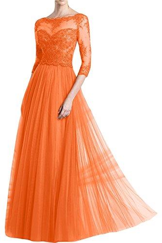 La_Marie Braut weinrot Damen Langarm Spitze Abendkleider Brautmutterkleider Partykleider a-linie Rock Orange