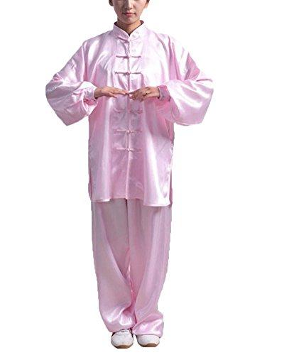 Bequem Kung Fu Uniform Tai Chi Kampfkunst Kleidung Wushu Anzug Trainingsanzug Tops Und Hose Unisex Pink 3XL