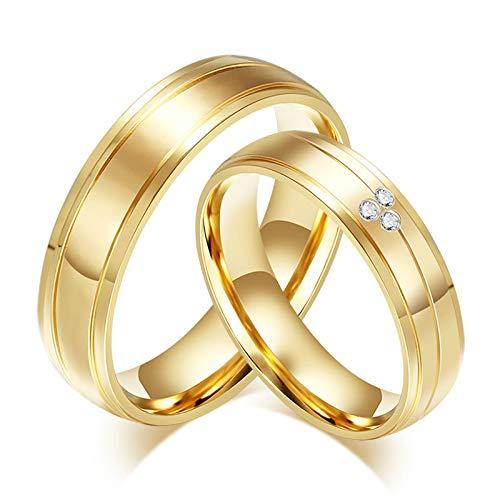 Amody 1 Paar Edelstahl Hochzeitsband Männer Frauen Paar Versprechen Ringe Gold 6MM Zirkonia hochglanzpoliert Ringe Frauen 57 (18.1) & Männer 62 (19.7) (Paare Für Ringe Batman)