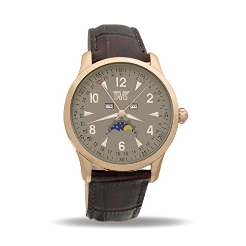 Davis 1507 - Mens Moon Phase Watch Rose Gold Triple Date Grey Dial Brown leather Strap