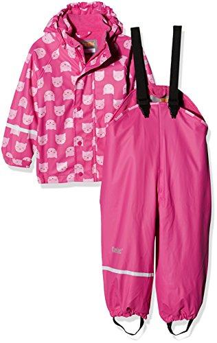 CareTec Kinder wasserdichte Regenlatzhose und -jacke im Set (verschiedene Farben), Rosa (Real Pink 546), 86