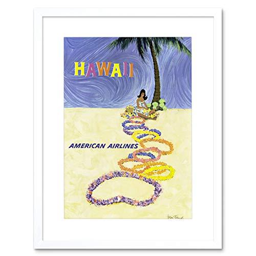 TRAVEL HAWAII STATE GARLAND BEACH TROPIC PALM TREE GIRL LEI ART PRINT B12X7945 - Palm Girl Poster