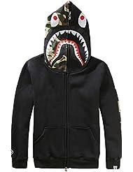 EmilyLe uomo pullover con cappuccio mimetica di stampa e Black Shark borderie