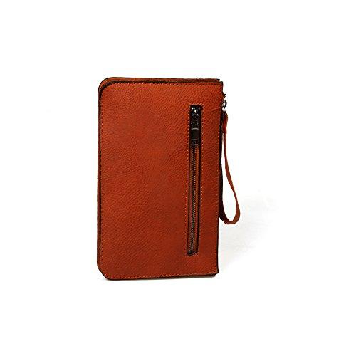 Good. Designs Clutch Borsa a mano per donna, portafoglio in pelle con cinturino da polso, marrone, Taglia unica marrone