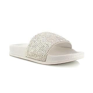 Womens Ladies Bow Floral Diamante Faux Fur Pom Pom Wide Strap Thick Comfy Sponge Platform Sole Slip On Slider Sandals Shoe Sizes 3-8 UK (4 UK, White Diamante)