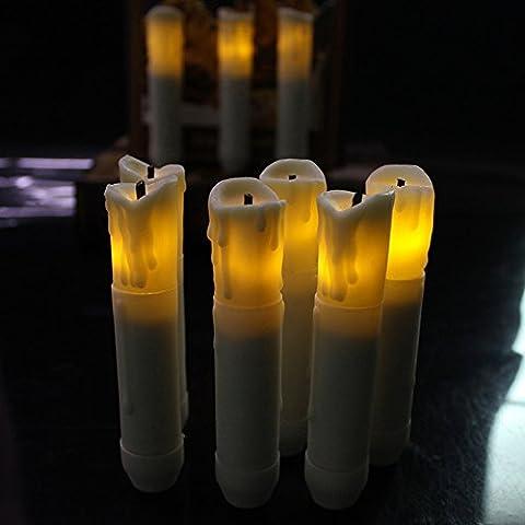 TLBBA Set di 12 bianco caldo senza fiamma di candela Imitates Avorio Mini Cera tuffato sfarfallio ambra Batteria cassaforte con LED Cono Candele a nozze cena di Natale decorazioni (#8002:10.6*2.0cm)