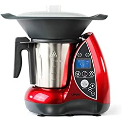 LIVOO DOP142 Robot culinaire chauffant, 1500 W, 3 liters, Noir/Rouge