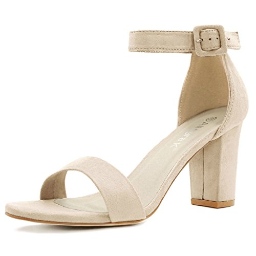 7 B(M)US (RUN BIG, 1/2 SIZE DOWN) , Beige : Allegra K Women's Open Toe Chunky High Heel Ankle Strap Sandals