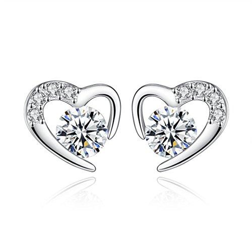 Orecchini donna in argento 925 zircone cuore cristallo orecchini di moda fascino gioielli per le donne le ragazze