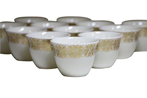 Türkisch Arabisch Kaffee Tassen Gawa 3Oz 80CC Set 12Stück (Gold Arabesque) Band Demitasse Cup