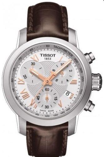 t0552171603302Tissot PRC 200Braun Leder weiß Chrono Damen Uhr New