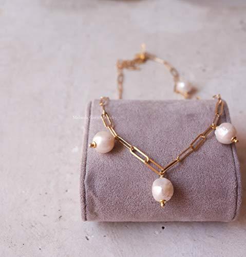 Collana malfa in argento 925 placcato oro con perle barocche di fiume a pendenti, collana paricollo fatta a mano