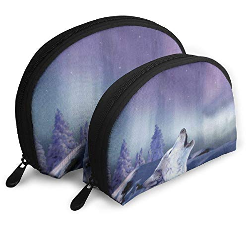 Reisetaschen Tier Wolf Starry Night Coin Clutch Pouch Tasche für Frauen/Mädchen