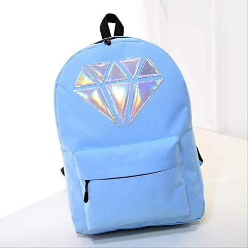 Frauen Leinwand Rucksack Schultaschen Holographische Silber Diamant Solide Teenager Mädchen Weibliche Männer Laptop wasserdichte Marke Sky Blue