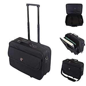Executive Business Fits upto 17 inch Laptop Wheeled On-Board Cabin Bag Suitcase Briefcase Pilot Trolley Carry Case Travel Bag (Black)