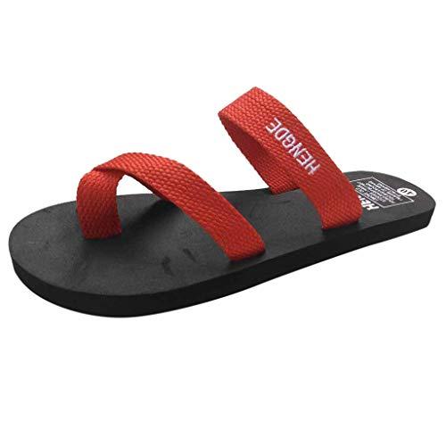 Zegeey Sandales Plates Femmes, Sandales D'été Tongs Tongs d'été pour Femmes Pantoufles décontractées Sandales Plates Plage Chaussures à Bout Ouvert Femme Rouge Sabots Femme Bottes Caoutchouc