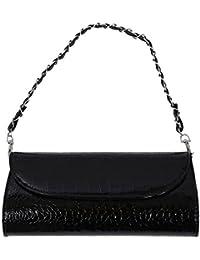 TOOGOO(R) New Fashion Wallet Chain Shoulder Cross-body Bag Women Clutches Stone Pattern Leather Women Wallet-black
