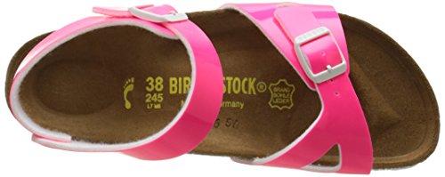 Birkenstock Rio, Sandales Fille Rose (Vernis Neon Pink)