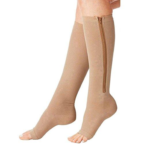 Acelec - calze elastiche a compressione, con cerniera, unisex, calze senza punta, altezza al ginocchio