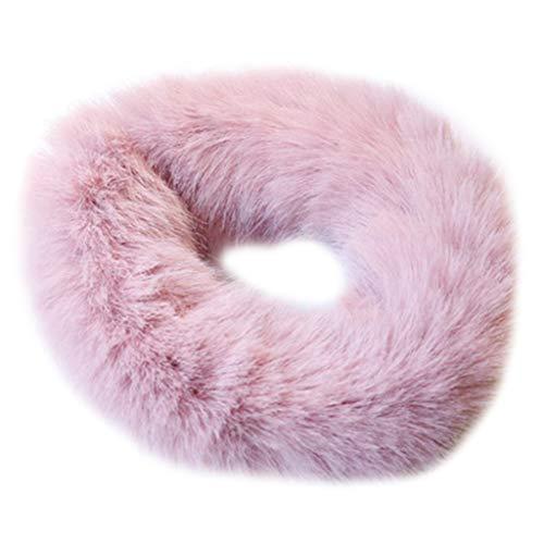 CADANIA Frauen Verdicken Elastische Winter Kreis Haar Seil Krawatten Flauschigen Plüsch Faux Kaninchen Haar Pferdeschwanz Halter Süße Candy Farbe Armband Haargummis Rosa