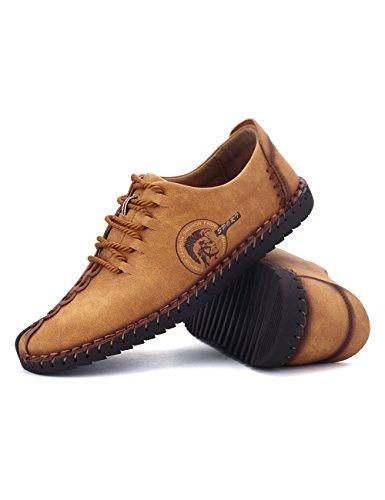 men-british-style-retro-stiching-soft-sole-lace-up-flat-cap-toe-casual-shoes-9-uk-taupe