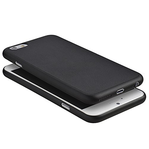 iPhone 6 Plus Hülle, Dünnste Leder Hülle Ultradünn Leicht Schmal Minimal Anti-Kratz Schutz Case - Für Apple iPhone 6s Plus | totallee (Braun) Schwarz