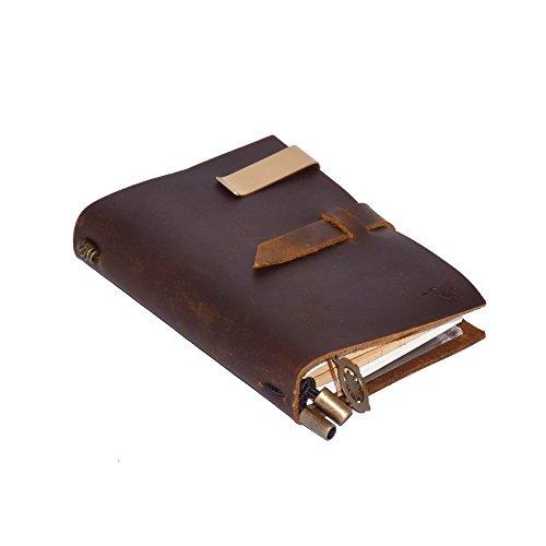 Taccuino tascabile in pelle di Nomalite | Diario A6 vintage in vera pelle marrone. Ricaricabile con elastico. Incl. 3 quaderni di pagine bianche e crema. Ideale come diario di viaggio, per schizzi.