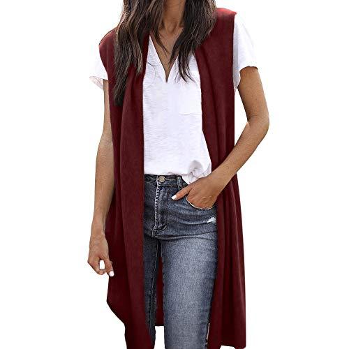 WWricotta Women's Sleeveless Open Front Pocket Causal Lightweight Kimono Cardigan Coat(Wein,M)