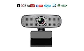 Webcam HD 1080P Stream Cámara Web con Micrófonos Duales Integrados Compatible con Xbox OBS Twitch Skype Youtube XSplit, Compatible con Mac OS Windows 10/8/7