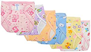 Super Baby New Just Born Outside Printed Cotton Inside Plastic Waterproof DiaperLangot With 0 3 Months MiniPack Of 6Multicolor.