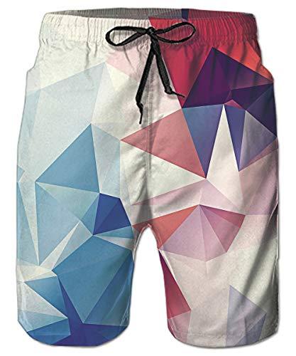 ALISISTER Badeshorts 3D Geometrie Druck Badehose Herren Lustig Kordelzug Elastische Taille Hawaii Surf Beach Shorts mit Netzfutter M -