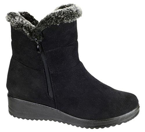 Arctic Amblers Storm-Schuhe Wurm & bequemer Damen Stiefel mit Reißverschluss Schwarz