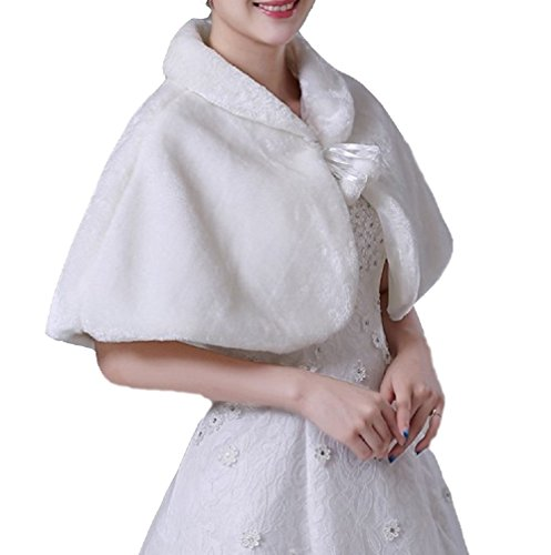 Brautjacke Bolero Jacke Fell Wei/ß Ivory Pelz Stola Hochzeit Wedding Bridal Kunstpelz Wrap Cape