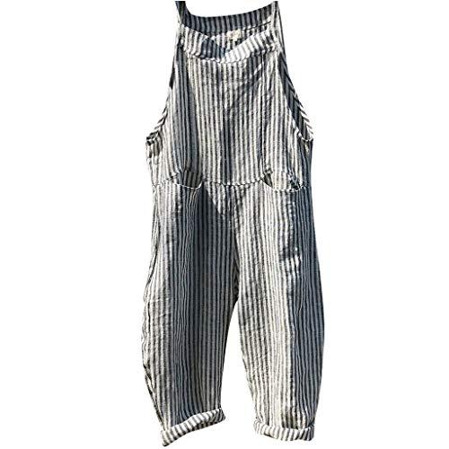 t Overalls, Frauen Verband Streifen Latzhosen Mode Bodysuit Spielanzug (XL, Schwarz) ()