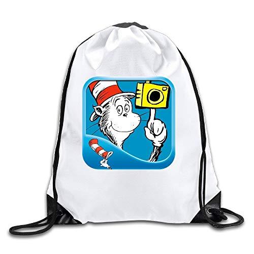 Dr Seuss Camera The Cat In The Hat Gym Sack Bag Drawstring Backpack Sport Bag