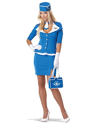 Stewardess Kostüm Retro - KULTFAKTOR GmbH Retro Stewardess Damenkostüm hellblau M (40/42)