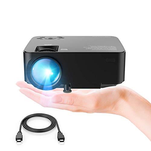 "DBPOWER Mini Beamer, 2200 Lumen HD 1080P LED Video Projektor mit 176\"" Display, 50.000 Lebensdauer, Heimkino Projektor Kompatibel mit TV Stick, HDMI/VGA/AV/USB/TF, Schwarz"