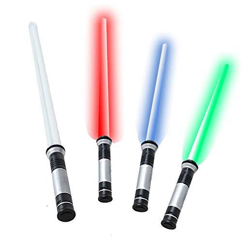 tevenger 67 cm Laserschwert Lichtschwert starr Sound 4-Fach frei wechselbare Lichteffekte blau rot grün ()