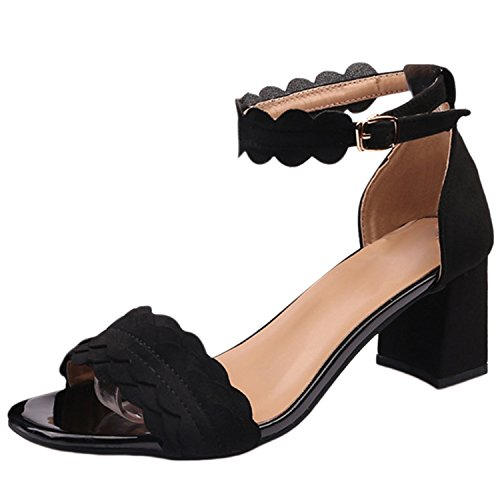 Oasap Women's Open Toe Ankle Strap Chunky Heels Fashion Sandals Brown
