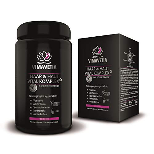 VIMAVETIA HAAR & HAUT VITAL KOMPLEX, Haarvitamine, Hautvitamine, 5000 mcg Biotin hochdosiert, 180 DRCaps® vegan im 2 Monatsvorrat, Vitamin B Komplex, Silizium, PABA, Hirsesamen, Vitamin D3, Miron Glas