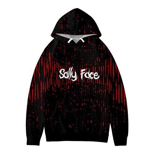 W&TT Kids Sally Face 3D Print Hoodie Spielthema Kapuzenpulli Cosplay Kostüm für Jungen und Mädchen,Black,120 (Kind Sally Kostüm)