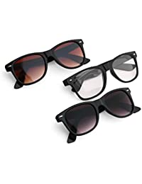 Royal Son Black,Brown and Clear Wayfarer Stylish Unisex Sunglasses Combo (Latest Goggles)